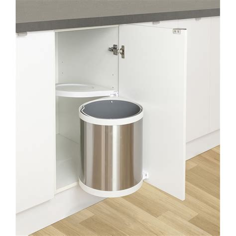 swing out waste bin kaboodle swing out chrome waste bin 15l bunnings warehouse