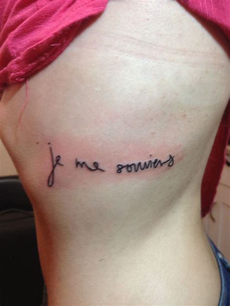 tattoo by me my it says je me souviens i remember