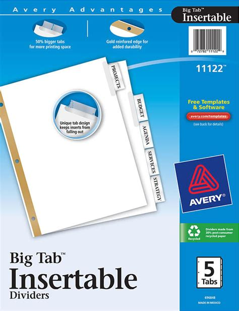 Avery 174 Worksaver 174 Big Tab Insertable Dividers 5 Tab Set 11122 Avery Online Singapore Worksaver Tab Inserts Template