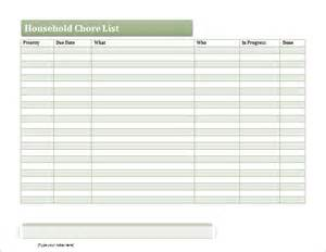 Chore List Template by Ms Excel Household Chore List Template Document Templates