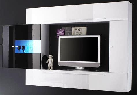 ensemble meuble tv murale blanc noir laque a led massimo