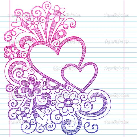 doodle on paper depositphotos hearts frame border back to school