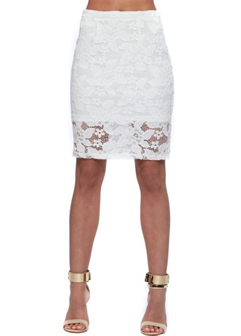 wyldr daydreamin white lace skirt white lace pencil skirt
