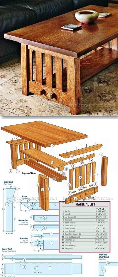 mission coffee table plans furniture plans  projects