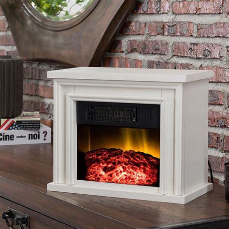 hampton bay   desktop electric fireplace  white