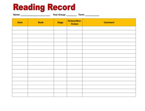 card record book template reading record recording sheet by hroberts999 teaching