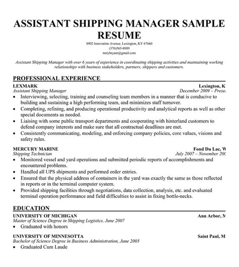 Resume Template Warehouse Manager Resume For Warehouse Supervisor Position