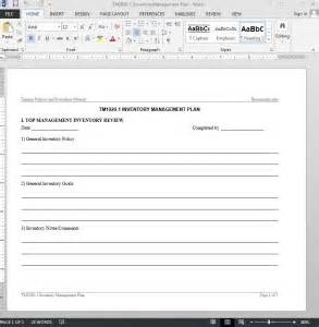 inventory management plan template inventory management plan template
