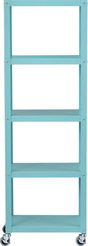 go cart aqua five shelf bookcase 199 cb2 bookcases