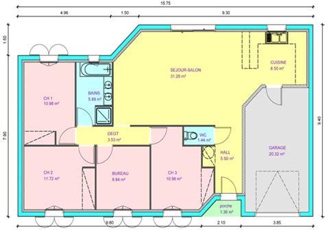 Plan Villa Plain Pied 4 Chambres by Plan Villa Plain Pied 4 Chambres 10 Maison Sans Garage