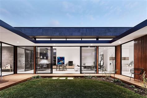 modern courtyard house is a seaside curbed