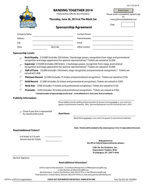 5 Free Sponsorship Agreement Templates Excel Pdf Formats Sponsorship Agreement Template
