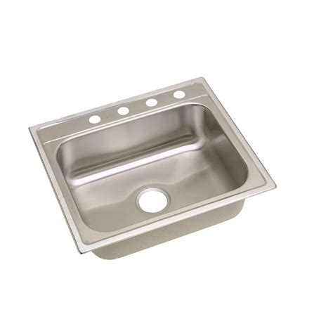 Elkay Dayton Drop In Stainless Steel 25 In 4 Hole Single Drop In Kitchen Sinks Stainless Steel