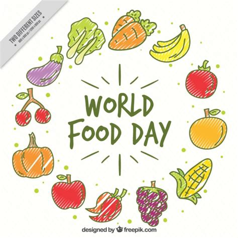 9 fruits and vegetables a day fruits and vegetables for world food day vector free