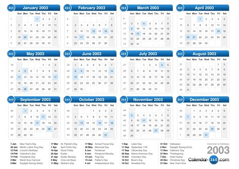 October 2003 Calendar 2003 Calendar