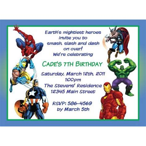 Marvel Birthday Card Template by Marvel Heroes Birthday Invitation Partys