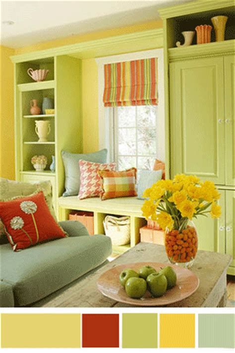 yellow and green living room interior color schemes yellow green decorating