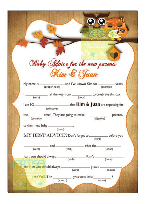 Mad Libs Baby Shower Printable by 5 Best Images Of Fall Mad Libs Printable Mad