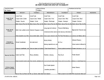 lesson plan template ohio step up to quality lesson plan for toddler class by lesson