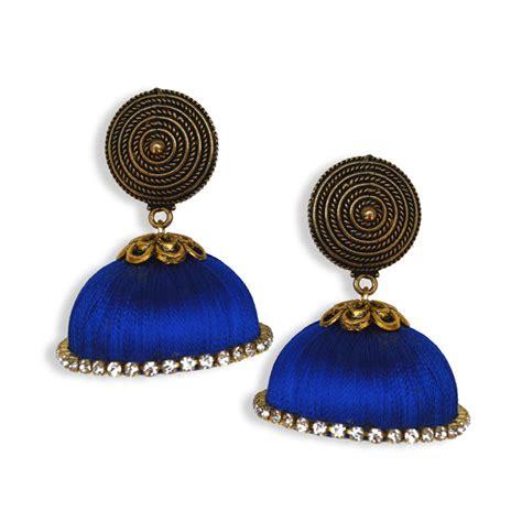Handmade Thread Jewellery - silk thread jumka blue with stud buy handmade silk