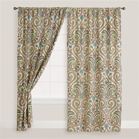 tab top cotton curtains ivory floral treetop cotton tab top curtain world market