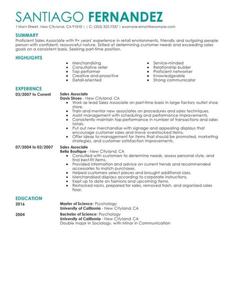 Exle Resume For Sales Associate by Part Time Sales Associates Resume Sle My Resume