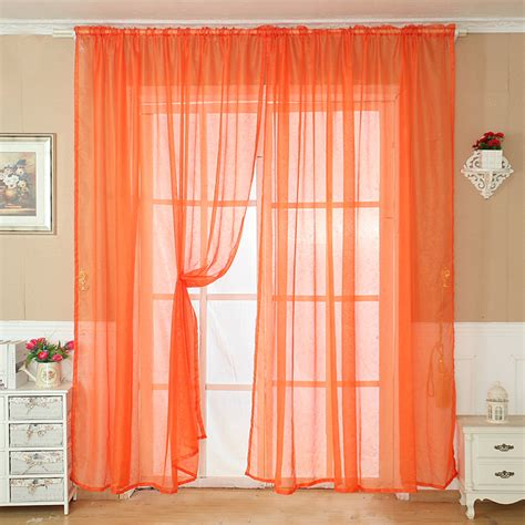orange window curtains solid color tulle door window curtain drape panel sheer