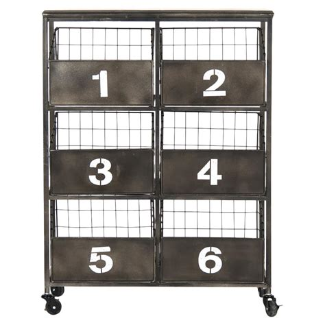 Black Metal Storage Cabinet by Neu Industrial Black Metal Numbered 6 Drawer Storage