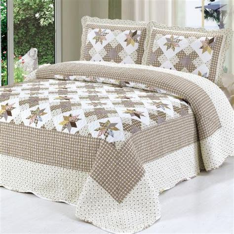 Patchwork Comforter Sets - 2015 new pastoral style 3pcs cotton patchwork bedspread