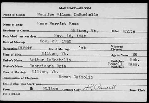 Vermont Marriage Records Rowe 19 March 1926 5 December 2014 Greenerpasture Genealogy
