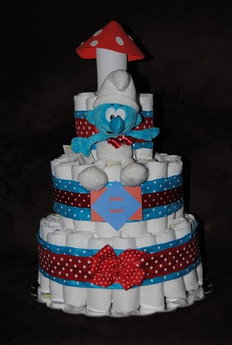 items similar to the original smurf diaper cake on etsy