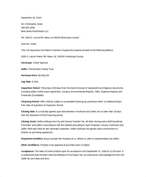letter of intent to purchase template letter of intent for commercial property letter of