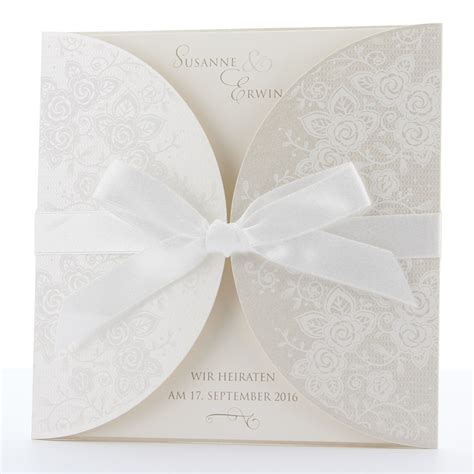 hochzeitseinladung romantisch romantische hochzeitseinladungen mit schleife bestellen