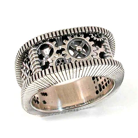 Handmade Cing Gear - steunk silver ring gears grooves and by swankmetalsmithing