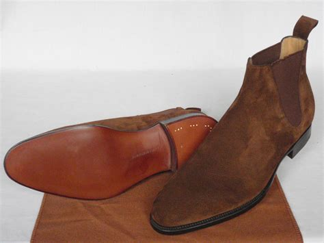 mens suede leather brown pointed toe boots suede