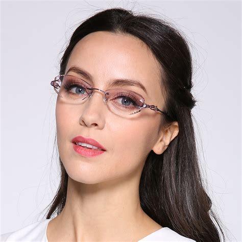 prescription eyewear suggestion for modern women in their 40 luxury tint lenses myopia glasses reading glasses diamond