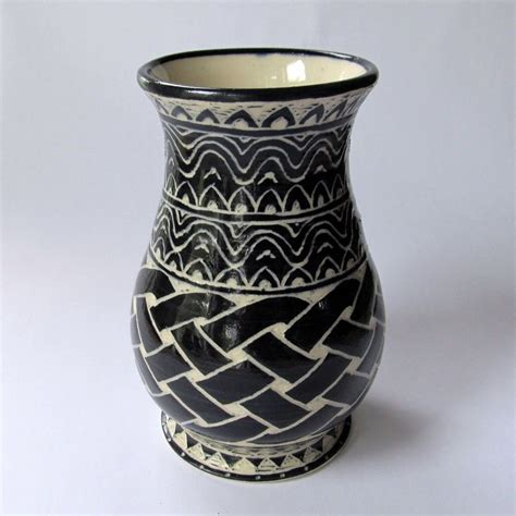 crafted handmade stoneware vase with celtic knot and