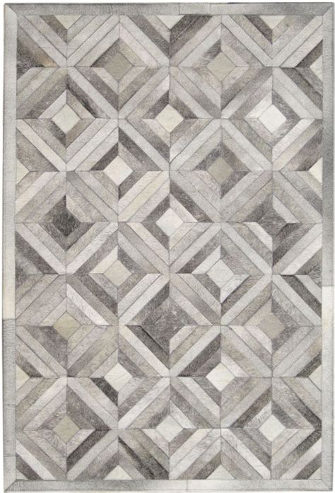 Pattern Grey Rug | madisons gray parquet pattern patchwork cowhide rug
