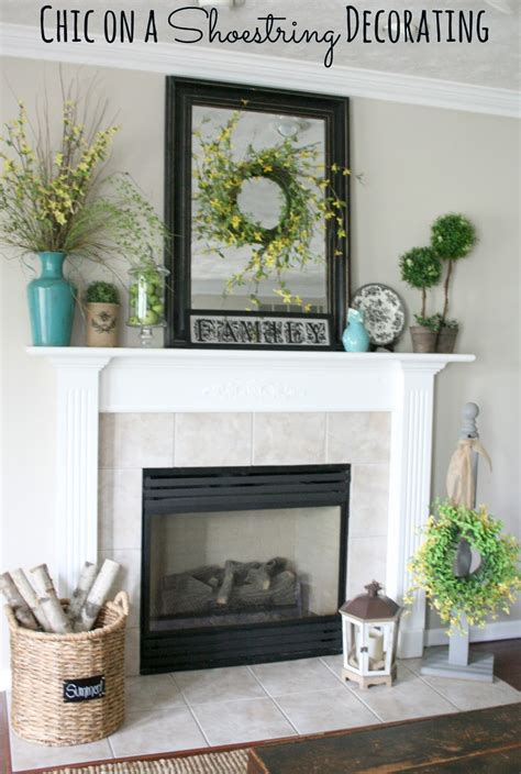 chic on a shoestring decorating summer mantel featuring turquoise yellow and green