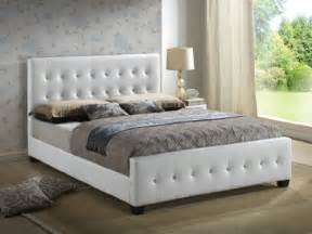 White Quilted Bed Frame White Size Modern Headboard Tufted Design