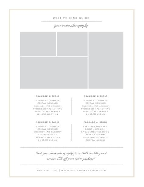 Photography Price List Template Pricing Sheet Guide Photography Pricing Guide Template