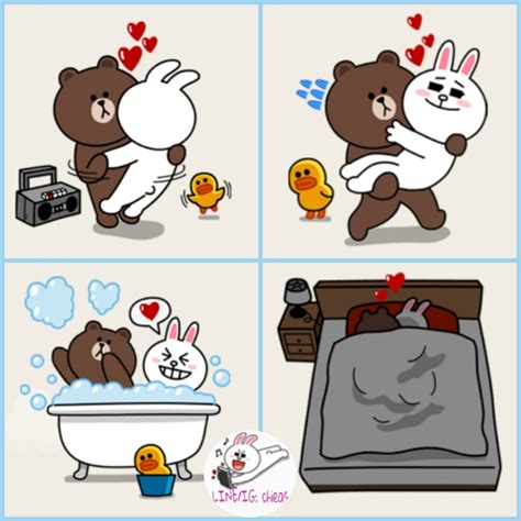 chieas sticker line brown and cony