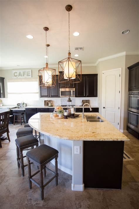 kitchens with an island the unique curved kitchen island provides casual