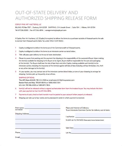 10 Ups Signature Release Form Templates To Download Sle Templates Shipping Waiver Template