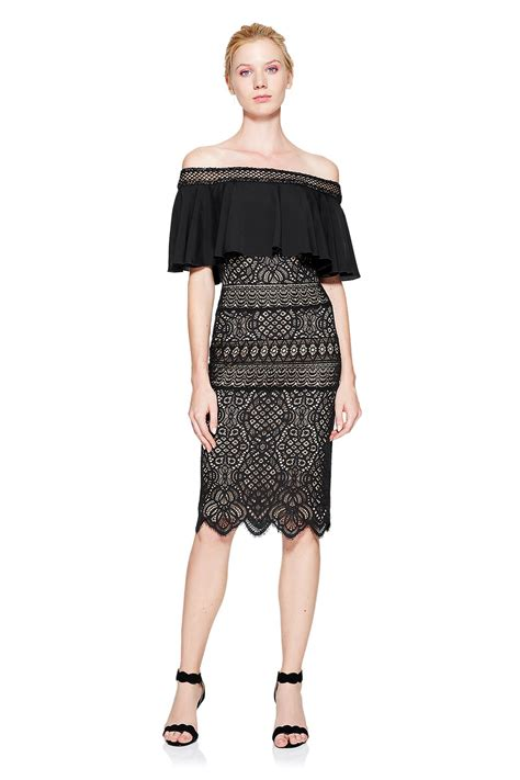 tabora off shoulder gown tadashi shoji tadashi shoji alexia off the shoulder dress in black lyst