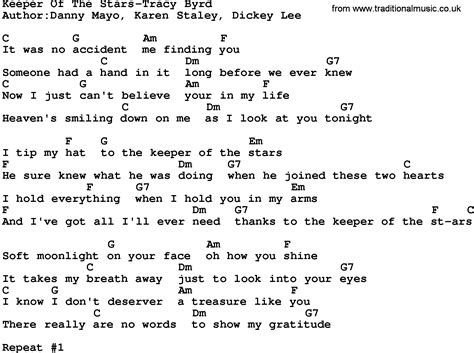 printable lyrics to keeper of the stars by tracy byrd country music keeper of the stars tracy byrd lyrics and chords
