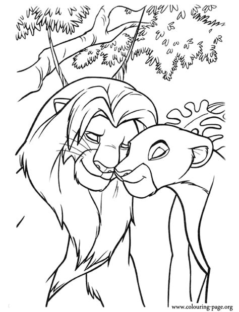 lion king simba nala meet coloring