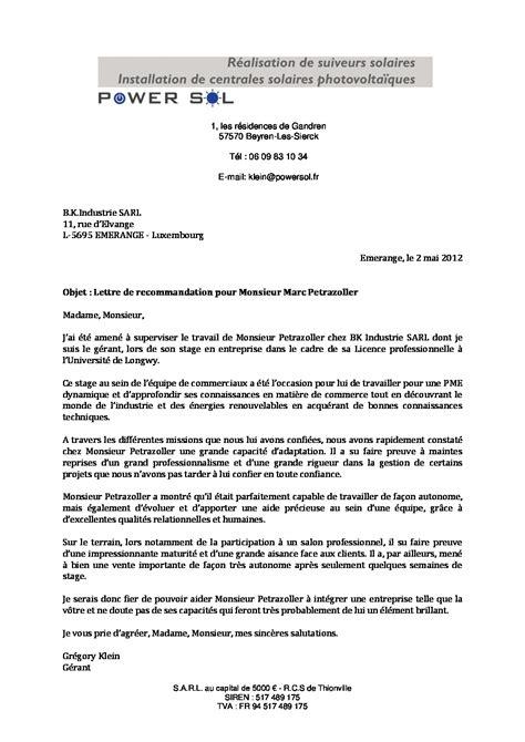Exemple Lettre De Recommandation Marketing Lettre De Recommandation B K Industrie Cv Marc Petrazoller