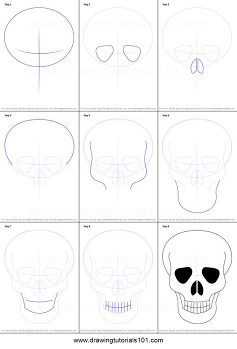 draw skull easy printable step step drawing sheet drawingtutorials101