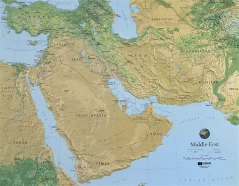 physical map of the middle east middle east raised relief map